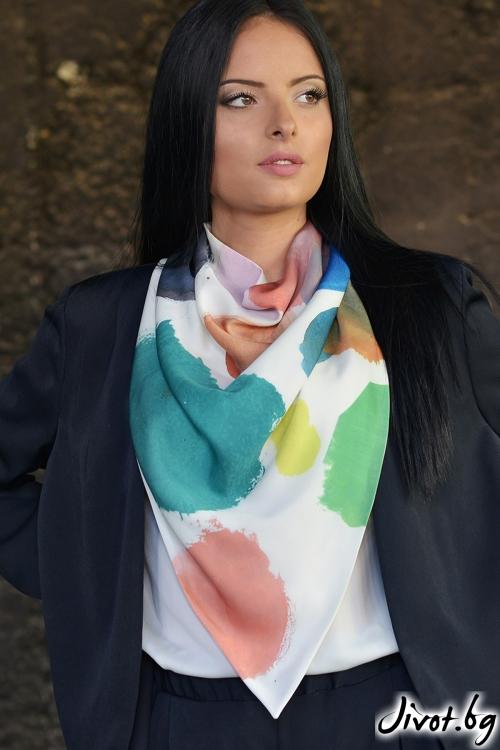 Ефирен копринен шал Colorful Dots / Lila Style House