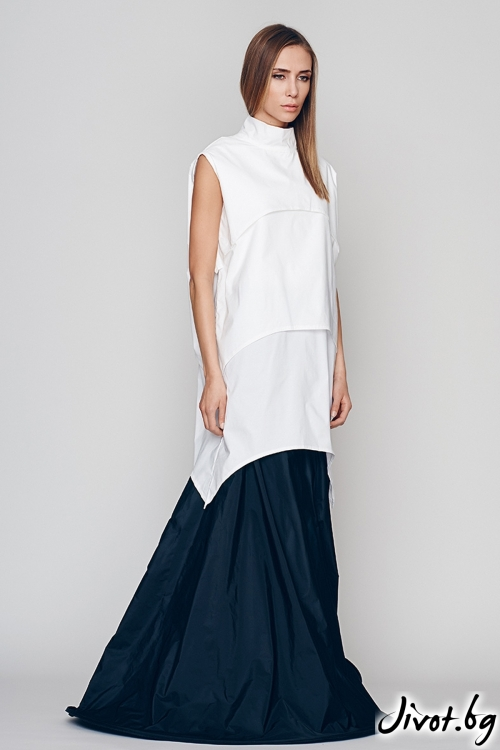 Бяла дамска туника/блуза без ръкави - Maria Queen Maria