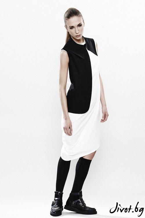 Асиметрична рокля в черно и бяло Maria Queen Maria