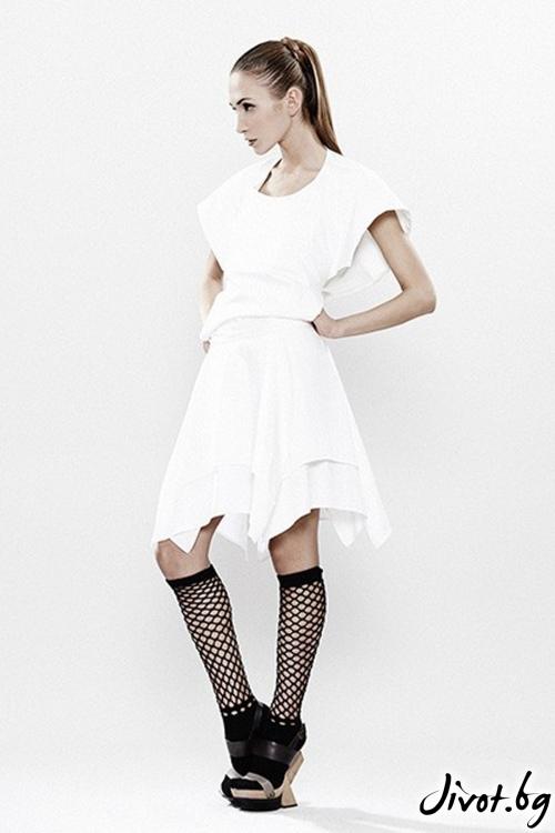 Бяла рокля от фин памук с гол гръб Maria Queen Maria