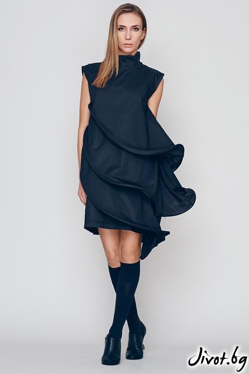 Красива къса черна рокля от вълни / Maria Queen Maria
