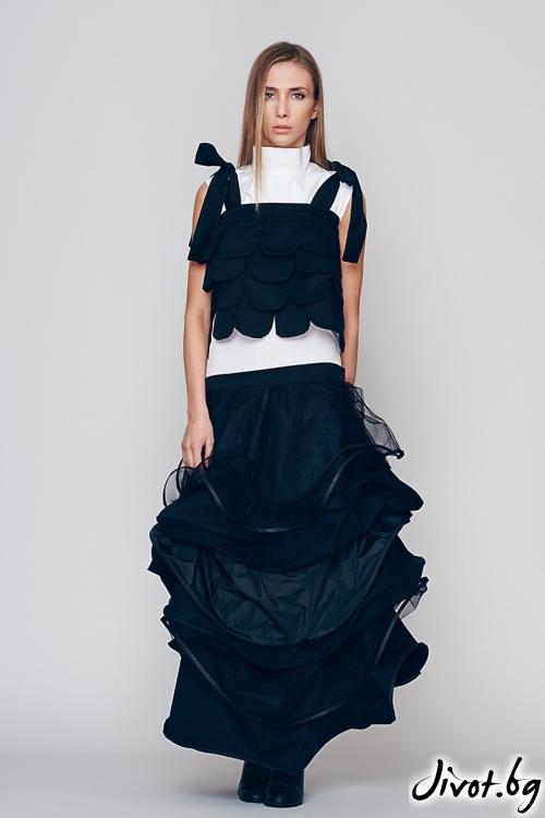 Черно бял дамски топ - Maria Queen Maria