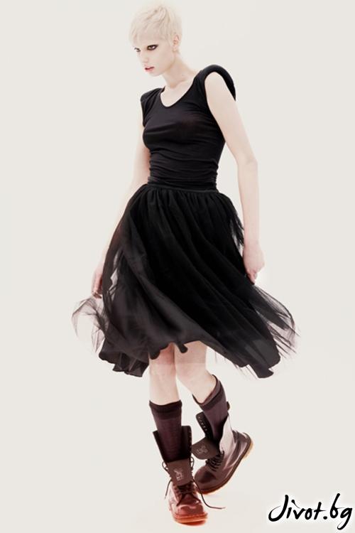 Черна дамска пола с тюл