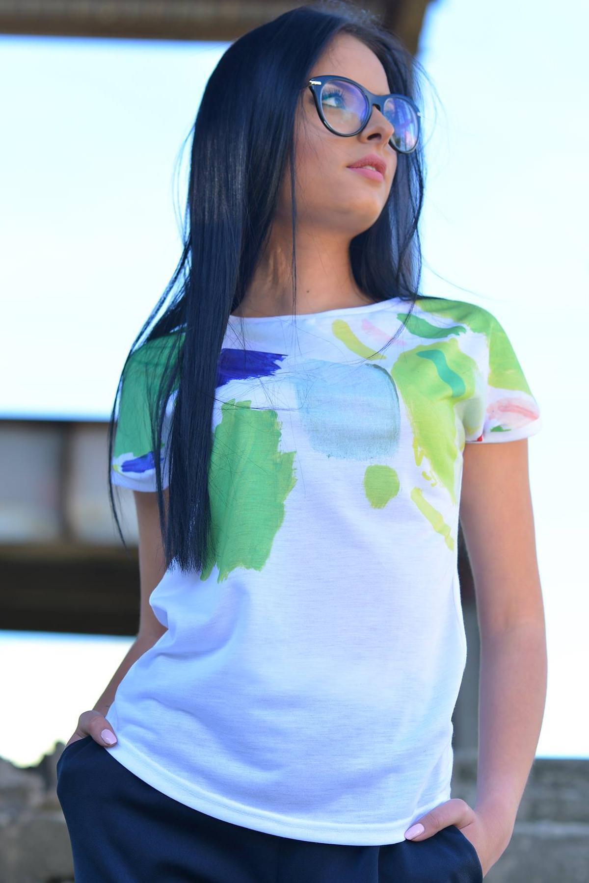 Ефектна дамска тениска с дизайнерски принт / Lila Style House