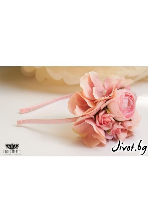Диадема с розови хортензии и английски рози/Forget-me-not