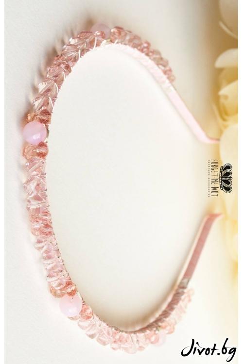 Луксозна кристална диадема с речни перли, чешки кристали и полускъпоцении камъни /Forget-me-not