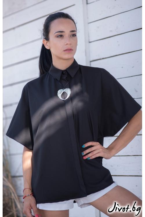 Черна дамска риза със широки ръкави / JUST T.K.
