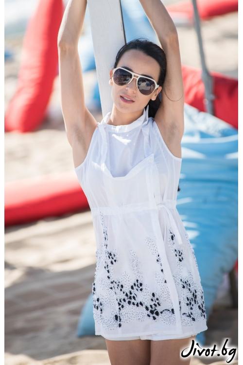 Бяла дамска риза без ръкави с дантела / JUST T.K.