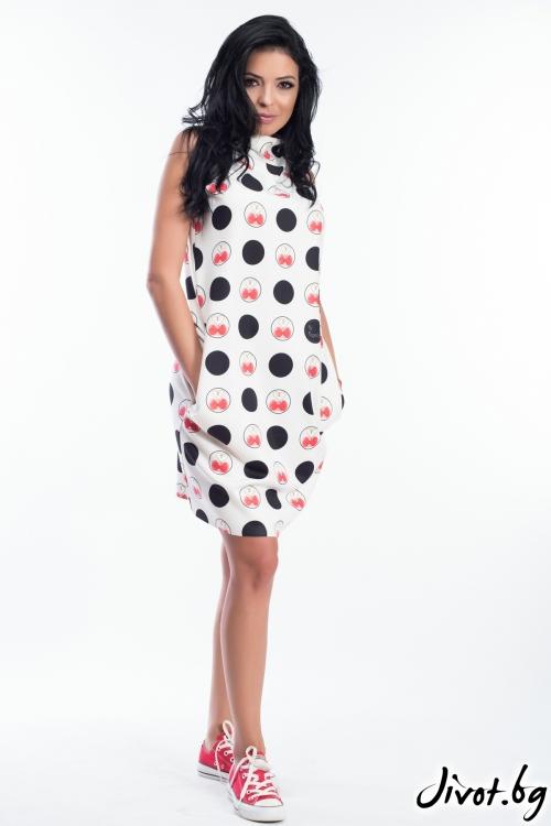 Дамска бяла рокля без ръкави с принт черешки / MY MAGENTA