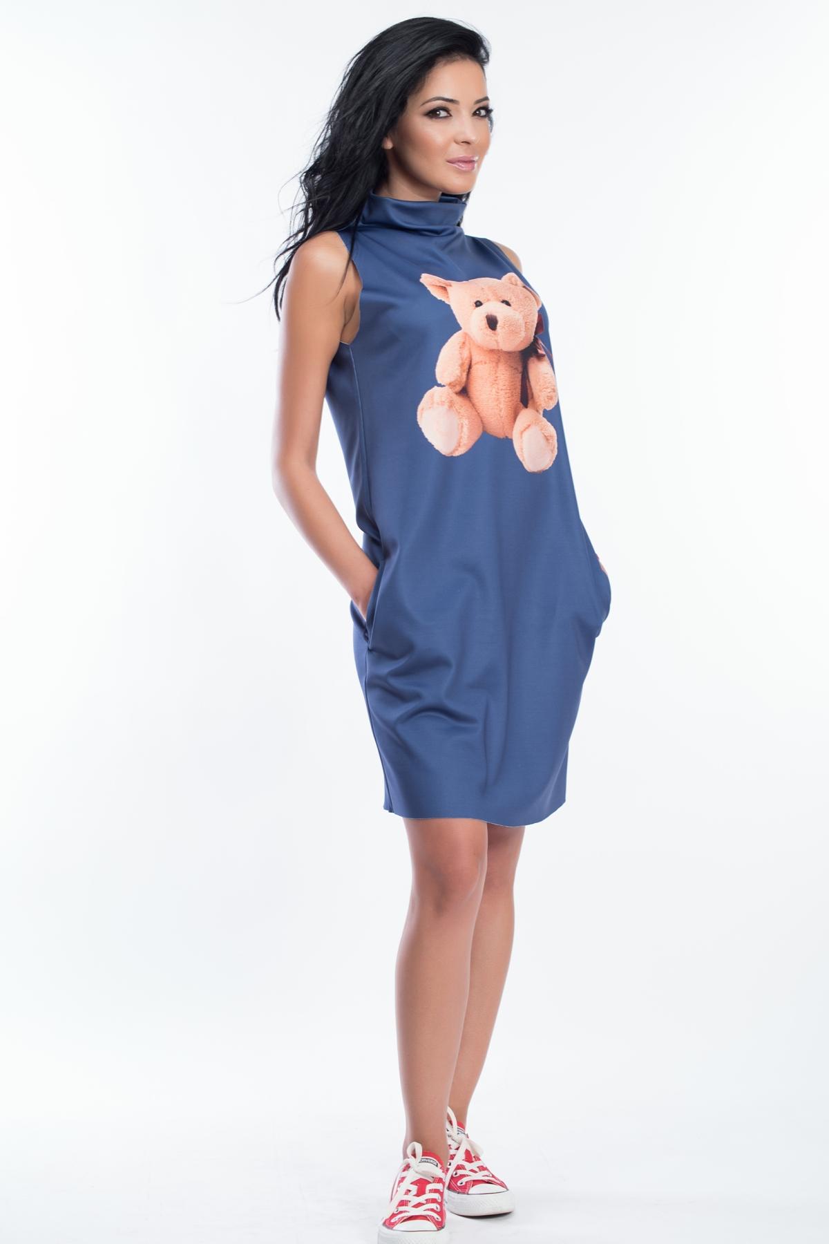 Дамска синя рокля с принт мече