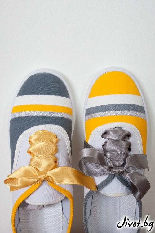 Ръчно рисувани кецове жълто и сиво / FETSKI