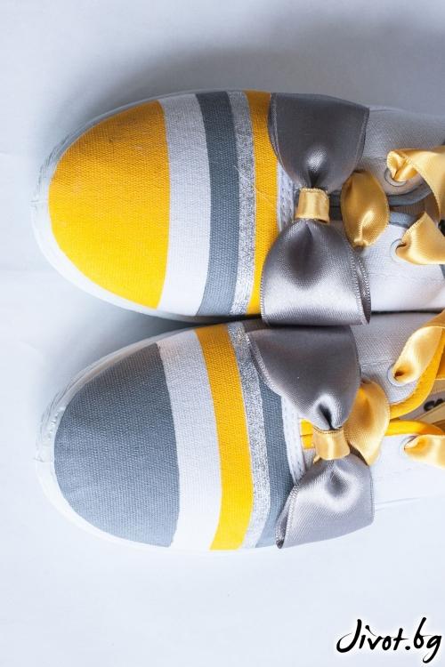 Ръчно рисувани гуменки с папионка в жълто и сиво / FETSKI