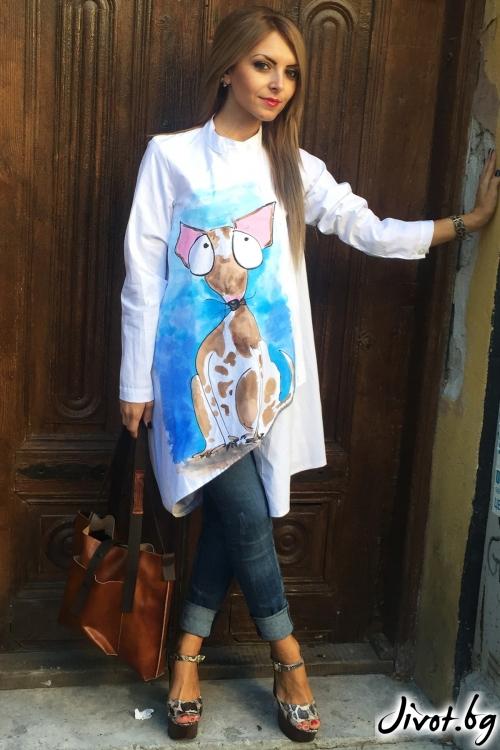 Бяла ръчно рисувана риза / By Angela
