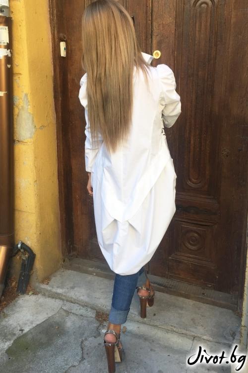 Бяла ръчно рисувана асиметрична риза / By Angela