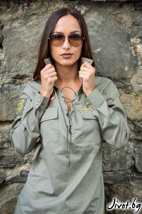Риза дамска милитъри стил / Melina Fashion