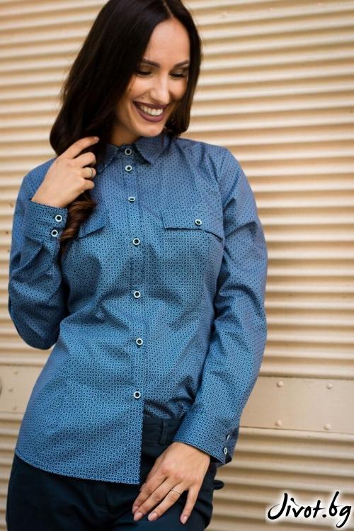 Синя дамска риза / Melina Fashion