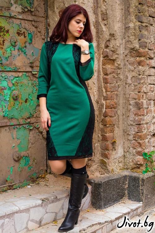Зелена рокля с черна дантела / Melina Fashion