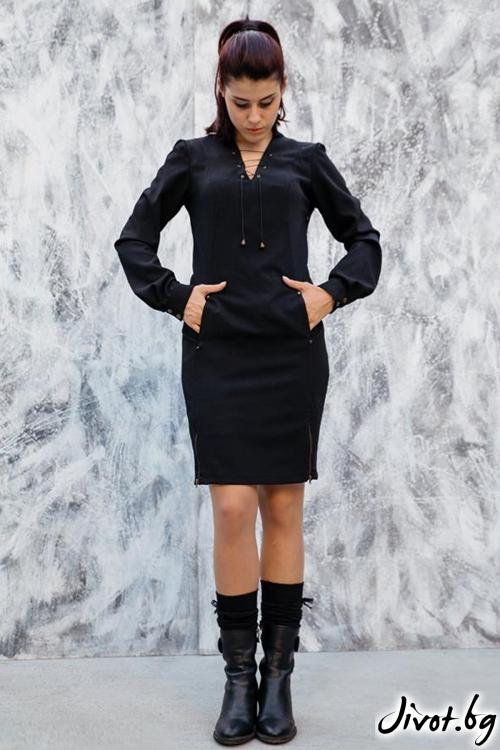 Черна рокля с джобове / Melina Fashion