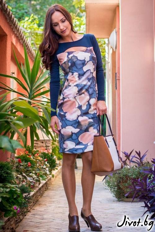 Дамска рокля с цветя / Melina Fashion