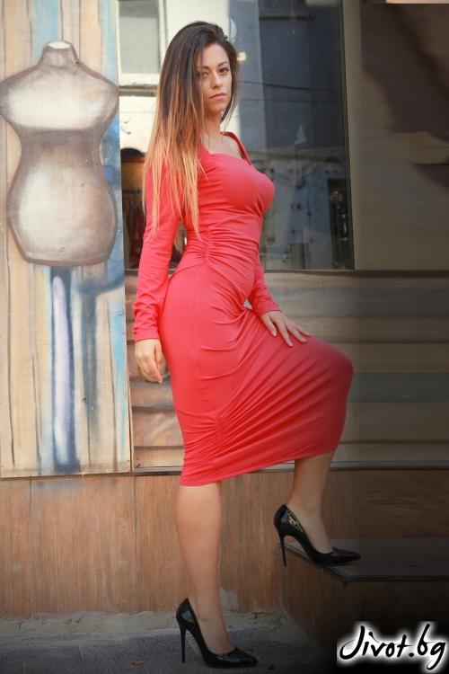 Червена дамска рокля / ALENIA
