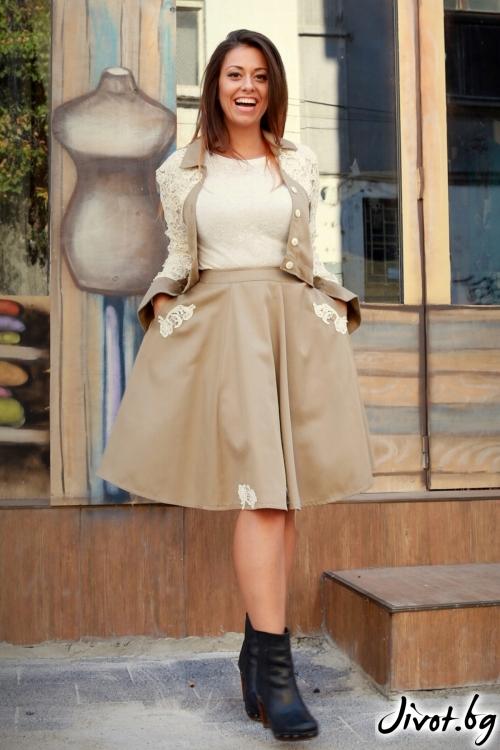 Късо дамско сако с дантела / ALENIA