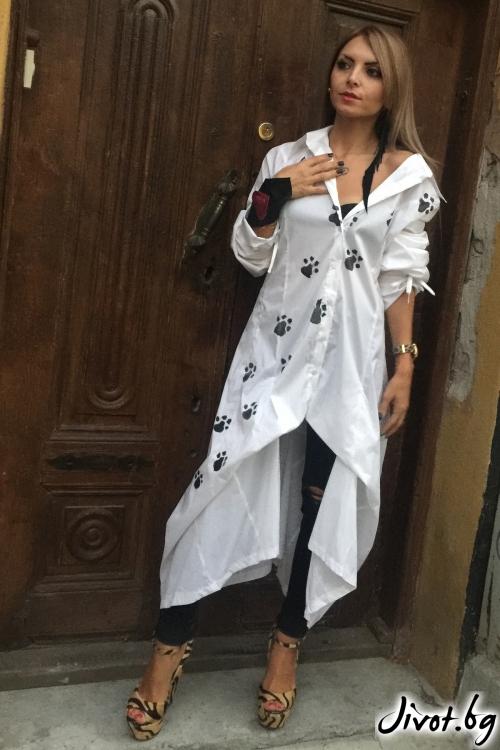 Бяла дамска ръчно рисувана риза / By Angela