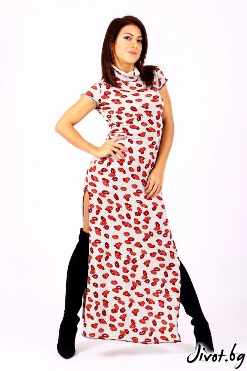 Дълга рокля с къс ръкав / Jeni&Migla