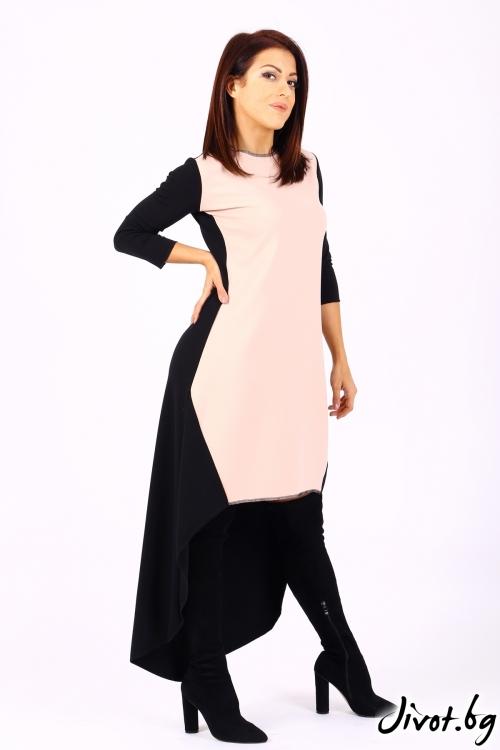 Асиметрична рокля в цвят пудра в комбинация с черно / Jeni&Migla