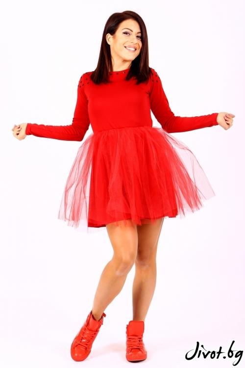 Червена къса рокля с тюл и гол гръб / Jeni&Migla