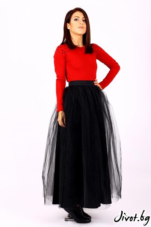 Дълга черна пола с тюл / Jeni&Migla