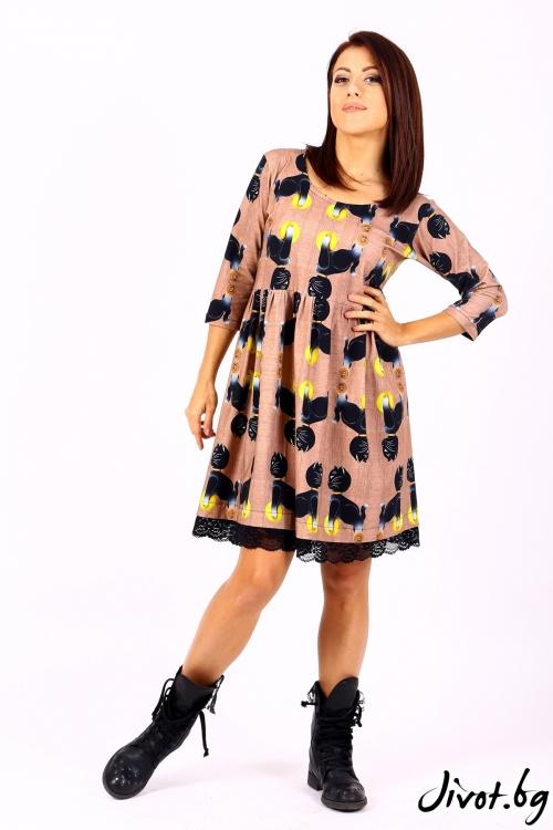 Къса дамска рокля с дантела / Cherie Marie