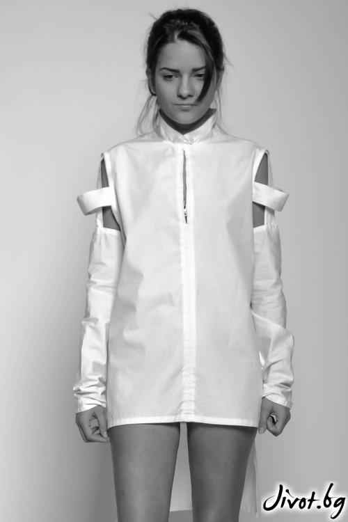Асиметрична бяла дамска риза / EXPERIMENT