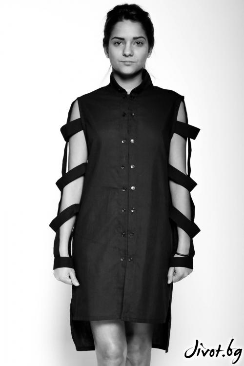 Черна риза с ефектни ръкави / EXPERIMENT