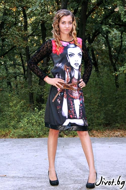 """Дамска рокля с принт и ръкави от дантела """"DG Girl"""" / DICE 78"""
