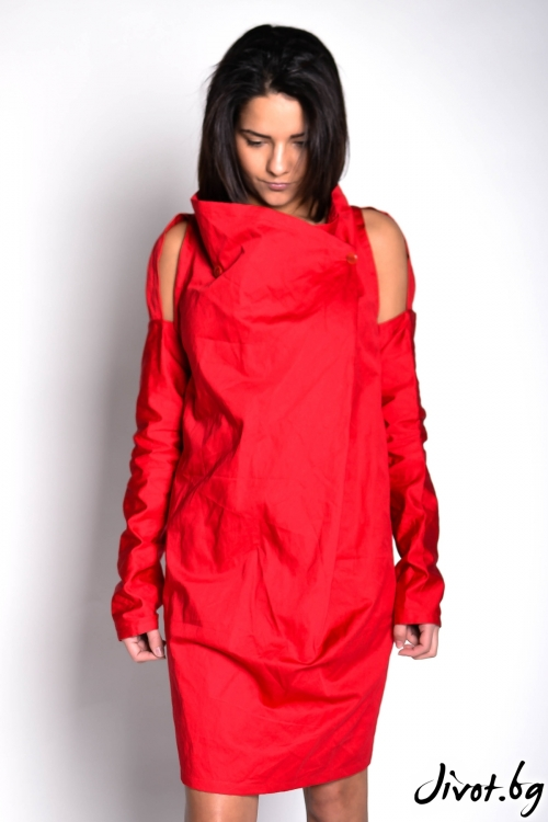 Червена рокля с ръкави / EXPERIMENT