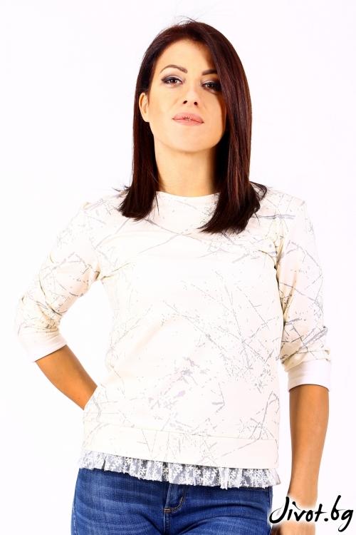 Дамска блуза от памук с дантела / VERNE