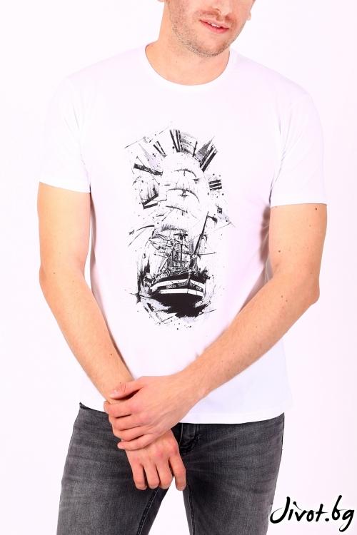 Бяла мъжка тениска SEAWAY / BARCODE