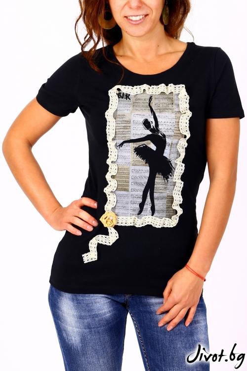 Черна дамска блуза с къс ръкав BALLET / BARCODE