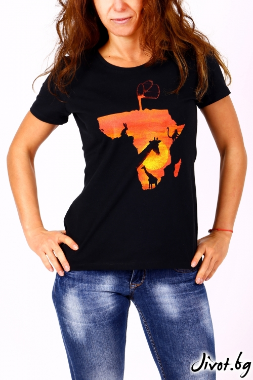 Дамска черна блуза с къс ръкав AFRIKA / BARCODE