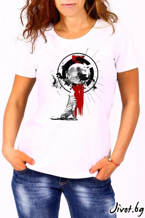 Дамска бяла блуза с къс ръкав WILD WOLF / BARCODE