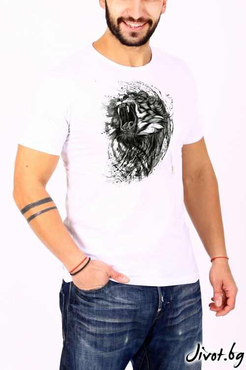 Бял мъжки T-shirt TIGER / BARCODE