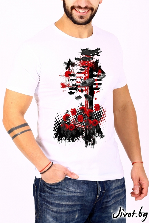 Бял мъжки T-shirt ATILA / BARCODE