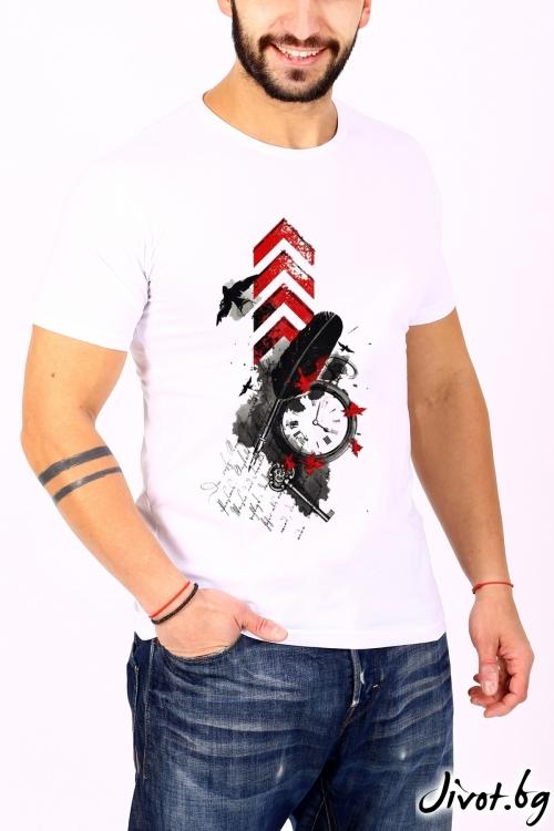 Бяла мъжка тениска / BARCODE