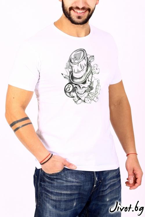 Мъжка блуза бяла KORS / BARCODE