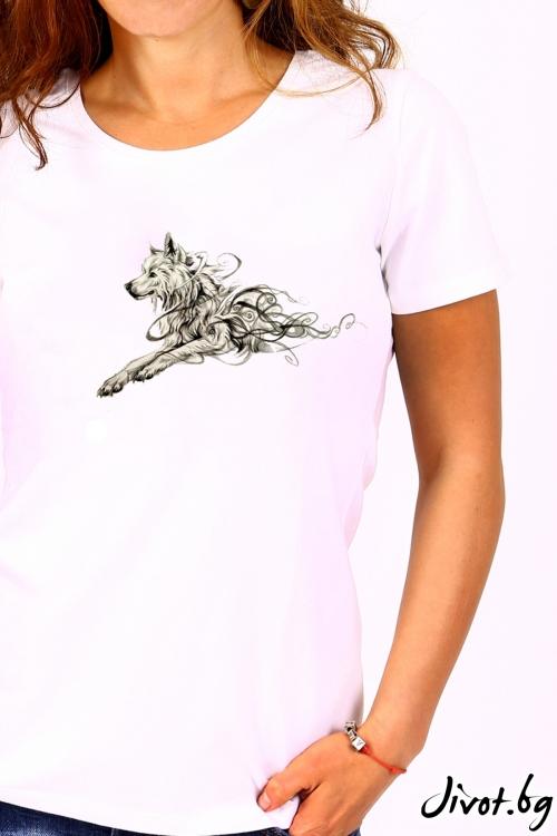 Бяла дамска тениска / BARCODE