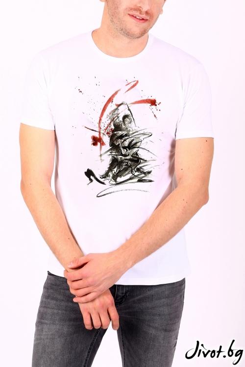 Мъжка блуза в бяло BARS / BARCODE