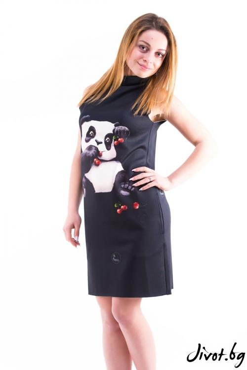 Дамска черна рокля с принт панда