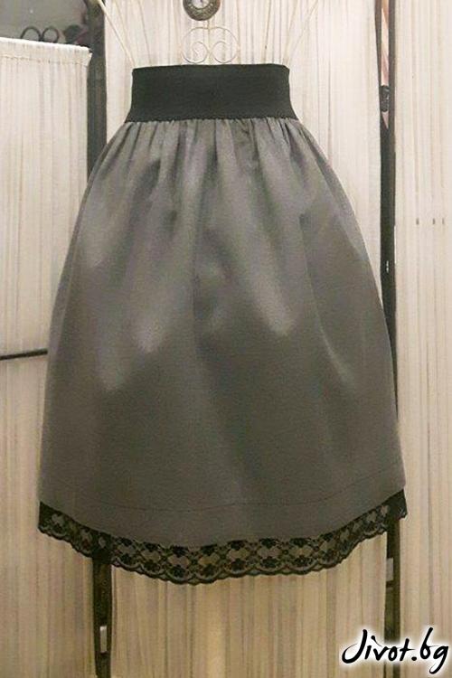 Сива къса пола от вълна и дантела / Cherie Marie