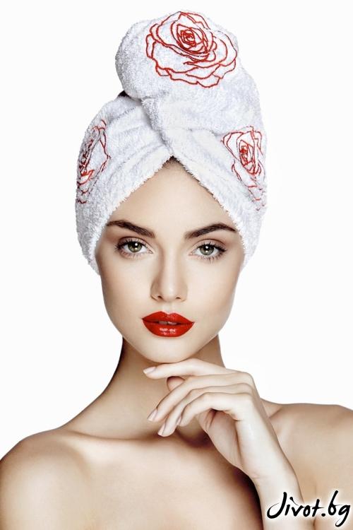 Бяла кърпа за коса с рози Aglique ROSE
