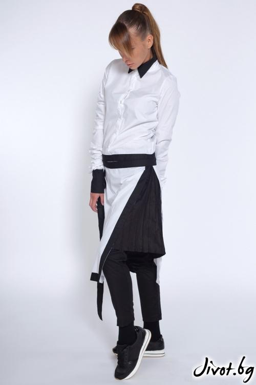 Дамска бяла риза с черна яка / Maria Queen Maria